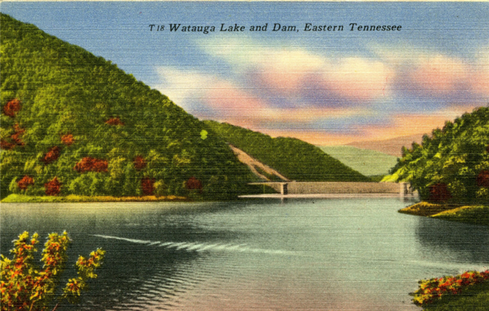 Lake Watauga and Dam Postcard, Tennessee State Museum Collection.