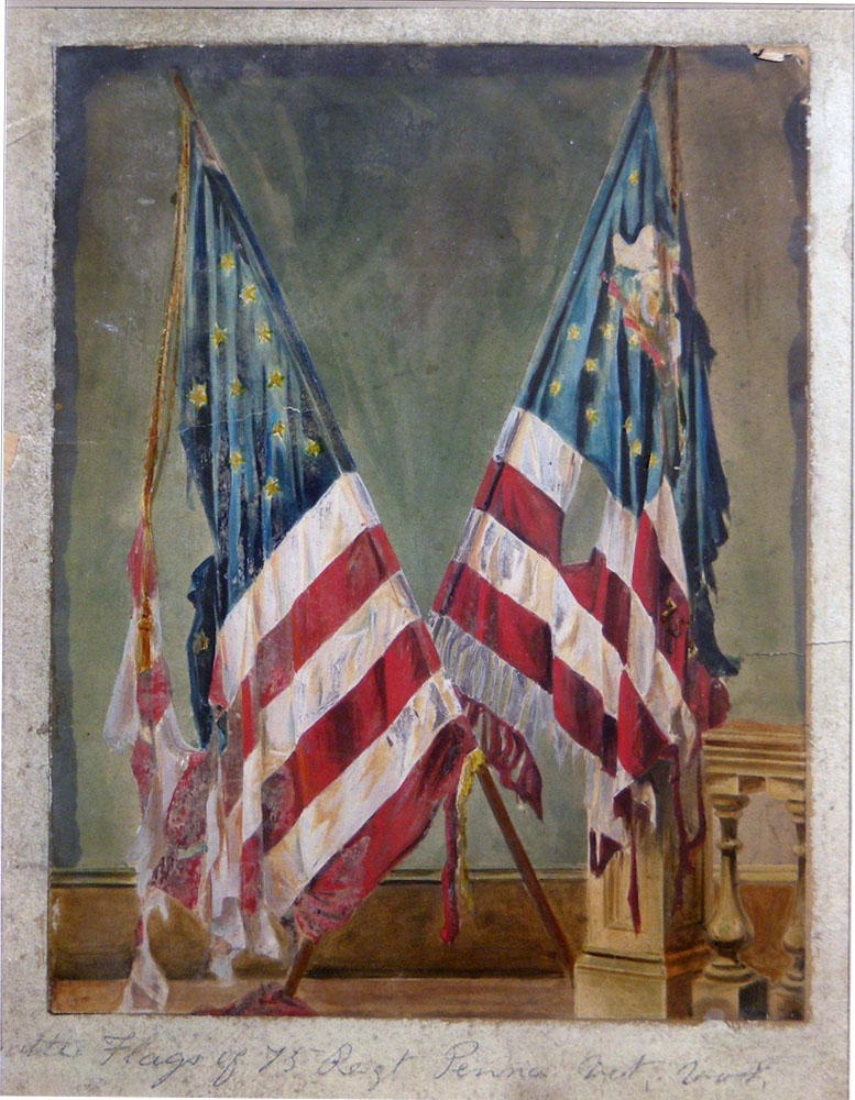 "Watercolor, ""Flags of the 75th Pennsylvania Volunteer Infantry,"" 2013.94.179"