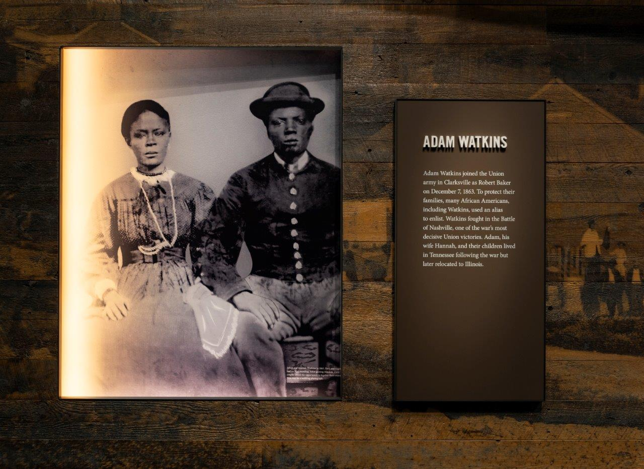 Adam Watkins and his wife, Hannah are featured in the exhibit, he joined the United States Colored Troops in 1863.