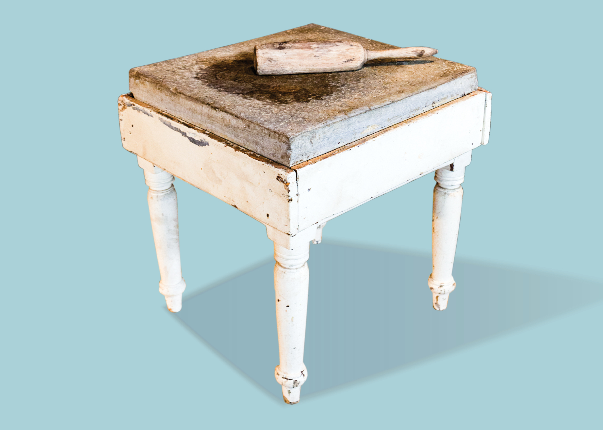 Beaten biscuit table (1850-1860) and beater (early 20th century)