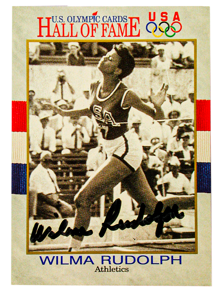 Signed Wilma Rudolph U.S. Olympic Hall of Fame Card, Tennessee State Museum Collection.
