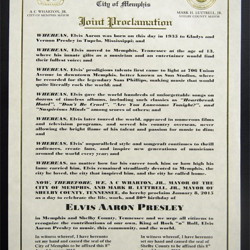 Memphis and Shelby County mayors proclaimed January 8 as Elvis Presley Day.