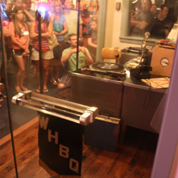 "Side view of the brand new ""Dewey Phillips: Rock N Roll On The Radio"" Exhibit at Sun Studio."