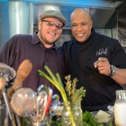 "Elvis Radio DJ Argo and ""Flip My Food"" host Chef Jeff."