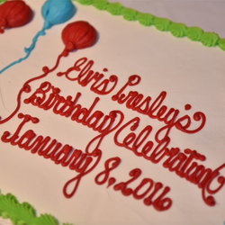 There were many cakes for Elvis at the Elvis Birthday Celebration.