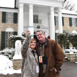 Guests enjoyed snapping selfies in the snow at Graceland.