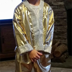 Jordan shines in his gold lamé suit.