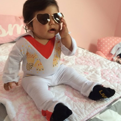 This little Elvis has a new take on his classic shades.