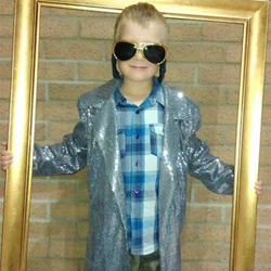 Jacob, who lives in the UK, shows off his love for Elvis.