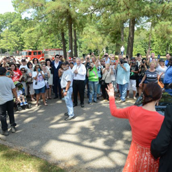 Priscilla Presley greets fans from around the world at the The Guest House at Graceland Groundbreaking Ceremony on August 14, 2014.