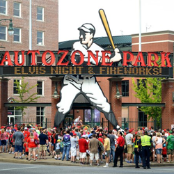 Fans pack AutoZone Part for Elvis Night with the Memphis Redbirds on August 9, 2014.