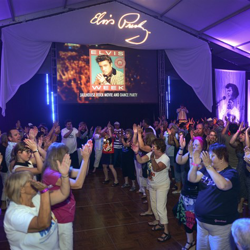 The Jailhouse Rock Dance party gets wild at the Elvis Week Main Stage on August 11, 2014.