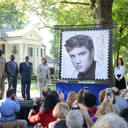 Postmaster General Megan J. Brennan, Priscilla Presley and Shelby County and Memphis officials attended the Elvis Forever Stamp Dedication Ceremony.