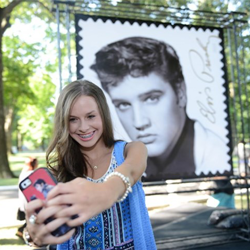 Elvis fans snapped selfies with the new Elvis Forever stamp.