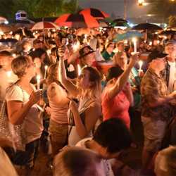 Fans pay tribute to Elvis at the Candlelight Vigil.