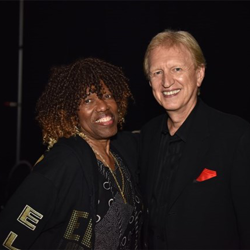 Estelle Brown of the Sweet Inspirations and Terry Blackwood chat backstage at The Gospel Music of Elvis Presley Concert.