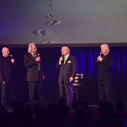 Bill Baize, Donnie Sumner, Larry Strickland and Ed Hill, former members of JD Sumner and the Stamps Quartet, perform at The Gospel Music of Elvis Presley Concert