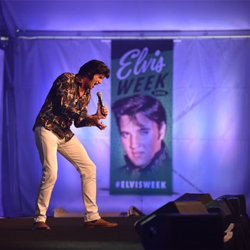 Garry J. Foley performs at the Elvis Tribute Artist Showcase on August 10.