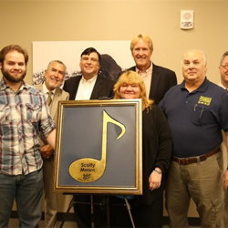 At the Elvis Connection panel, a Beale Street Brass Note was presented to Scotty Moore