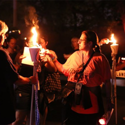 Elvis fan club members serve as Honor Guard during the Candlelight Vigil.