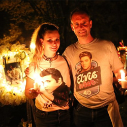 Fans from around the world celebrate Elvis during the Candlelight Vigil.