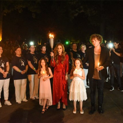 Harper Lockwood, Lisa Marie Presley, Finley Lockwood, Ben Keough paid tribute to Elvis Presley at the Candlelight Vigil.