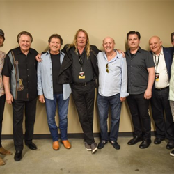 Mike Stoller, Mac Davis and Mark James hung out back stage with the team from Sony during Elvis Week.