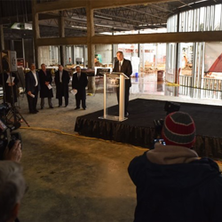 Keith Hess, The Guest House at Graceland General Manager, spoke at the Topping Out Ceremony on March 3.