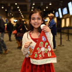 Kids enjoyed making ornaments and personalized Santa hats after the Lighting Ceremony.