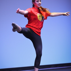 Tabitha shows off her moves in rehearsal.