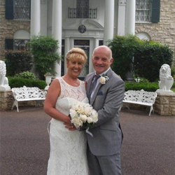 Christine Ball and Stephen Wearden from Preston, UK, were married at Graceland's Chapel in the Woods on April 19, 2016.