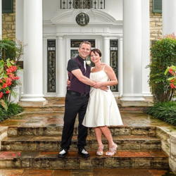 Rachel and Lee Gauntlett of the United Kingdom were married at Graceland's Chapel in the Woods on August 30, 2017.
