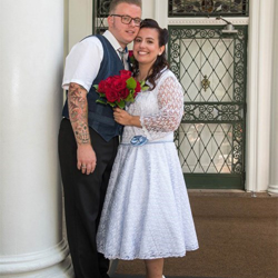 Bert and Naomi Peters of The Netherlands were married at Graceland's Chapel in the Woods on August 18, 2017.