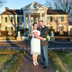 David and Amy Knox from North Carolina were married at Graceland's Chapel in the Woods on January 4, 2018.