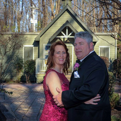 Kathy and Jim Stutts of Huntsville, Alabama renewed their vows at the Chapel in the Woods on Valentine