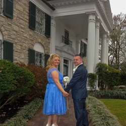 Lisa Fox and Raymond Morphus of Derbyshire, England were married at Graceland's Chapel in the Woods on March 12, 2015.