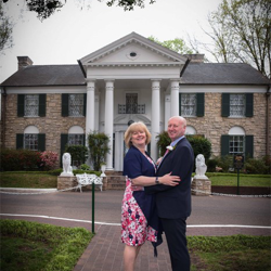 Debbie and Joe Linsley from Northumbeland, United Kingdom renewed their vows on their 30th anniversary at Graceland's Chapel in the Woods on April 1, 2016.