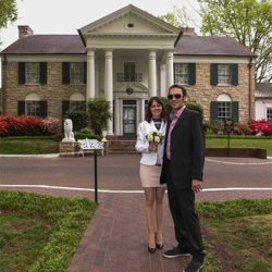 Silvia Valtriani and Simone Benucci from Piombino, Italy were married at Graceland's Chapel in the Woods on April 14, 2016.