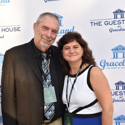 Dick and Melissa Grob walked the blue carpet at the ribbon cutting event.