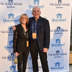 Hal and Geri Lansky walk the blue carpet at The Guest House at Graceland