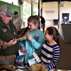 Kids learned about animal pelts at Home School Day.