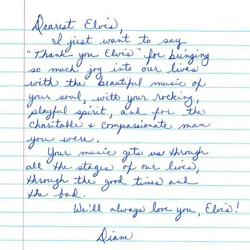 Diane K., from New York, wrote this letter to Elvis.