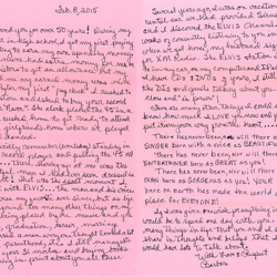 Barbara, a fan from Virginia, wrote this letter.