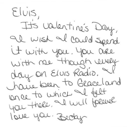 Becky, an Elvis fan from Washington, wrote this letter.