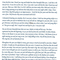 This letter was written by Debbie, a fan from West Virginia.