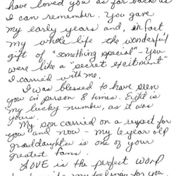 Margaret, an Elvis fan in California, wrote this letter.