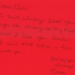 This letter is from Donna, an Elvis fan in Texas.