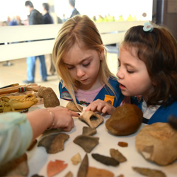 Girl Scouts learn about fossils at Scouts Day.