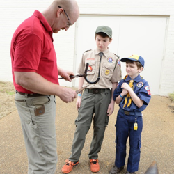 Boy Scouts learn about horseshoeing at Scouts Day.