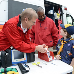 Scouts explored an ambulance at the Emergency Mobile Healthcare display.
